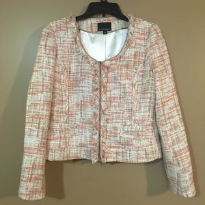 Cynthia Rowley Tweed Jacket Pink and White Large